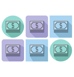 outlined icon of banknotes pack with parallel and vector image