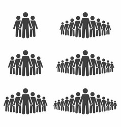 People icon set stick figures crowd signs vector