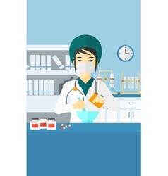 Pharmacist preparing medicine vector