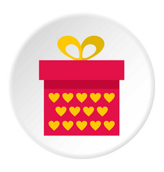 Pink gift box with yellow hearts icon circle vector