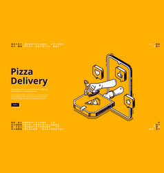 pizza delivery isometric landing page fast food vector image