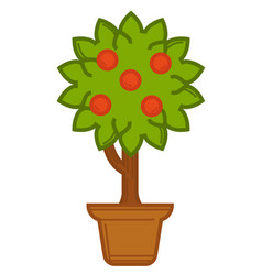 plant with berries flower or bush in pot vector image