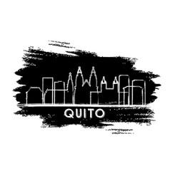 quito ecuador city skyline silhouette hand drawn vector image