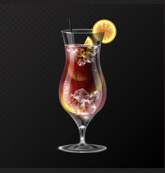 Realistic cocktail long island ice tea glass vector