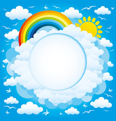 round frame with a rainbow and sun vector image