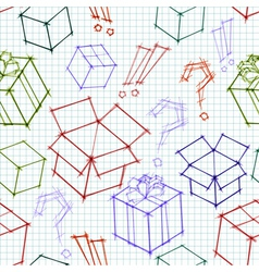 Seamless background with doodle sketches of gifts vector image