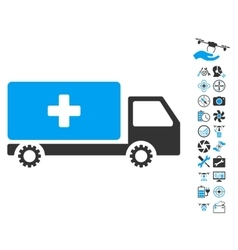 Service Car Icon With Air Drone Tools Bonus vector