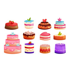 set different kinds of cakes sweet baked desserts vector image