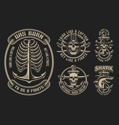 set for pirate theme vector image