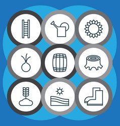 Set of 9 farm icons includes cask stairway vector