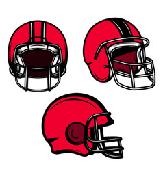 set of american football helmets isolated on vector image
