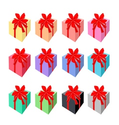 Set of Beautiful Gift Boxes with Red Ribbon vector image