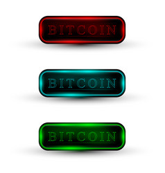 Set of web buttons with neon light vector