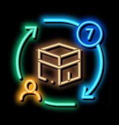 Sevenfold tour around kaaba neon glow icon vector