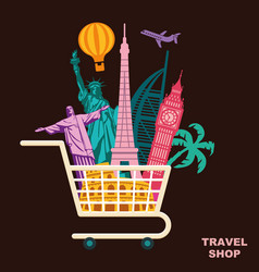 Shop travel conceptual symbol vector