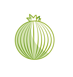Silhouette fresh onion organ vegetable food vector