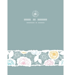 Silver and colors florals vertical torn seamless vector image