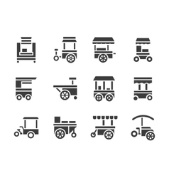 Simple glyph food trolley icons set vector image