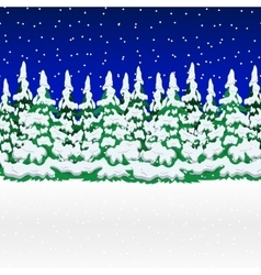 Snowy winter forest Christmas landscape with vector