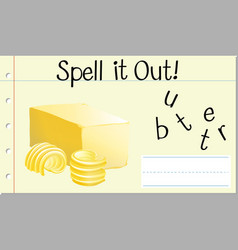 spell english word butter vector image
