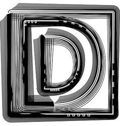 Striped Font Letter D vector