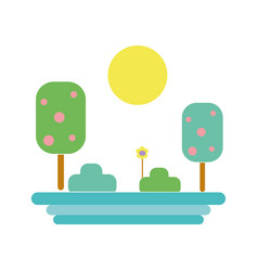 Trees with sun and flower plant vector
