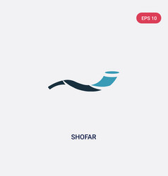 Two color shofar icon from religion concept vector
