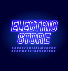 Violet banner electronic store with neon al vector