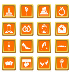 Wedding icons set orange vector