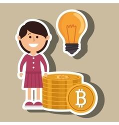 Woman bit coin idea vector