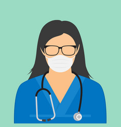 woman doctor in a white coat and a stethoscope vector image