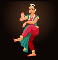 bharatanatyam or bharathanatiyam woman dancer vector image vector image