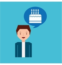 Cartoon man cake and candles dessert design icon vector