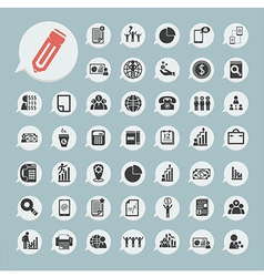 Finance icons Set on blue paper vector image vector image