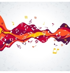 Musical sound wave with notes Colorful Music vector image