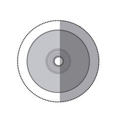 sticker grayscale silhouette with compact disc vector image