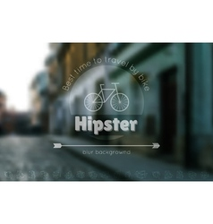 trendy hipster blur background and logotypes 2 vector image