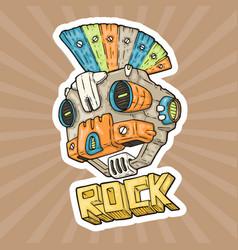 cartoon punk-rock music robot vector image vector image