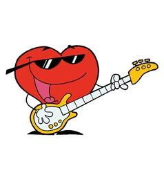 Heart Man Playing Guitar vector image vector image