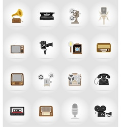 multimedia flat icons 17 vector image vector image
