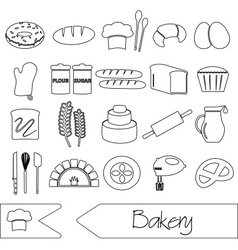 simple black bakery items outline icons set eps10 vector image vector image