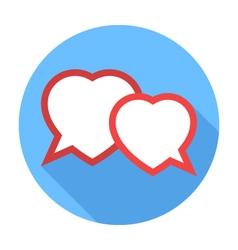 Two hearts speech bubble flat design icon vector