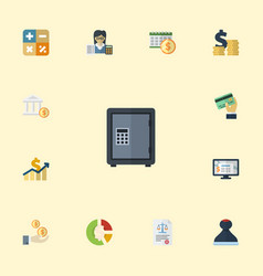 flat icons safe mark algebra and other vector image