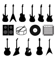 large set of various music instruments isolated vector image