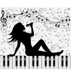 Singing woman sitting on the piano keys vector image