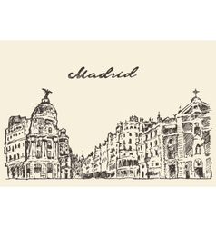 Streets Madrid Spain hand drawn vector image vector image