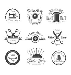 tailor shop salon icons button sewing vector image vector image