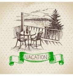 Vintage hand drawn sketch family vacation vector image vector image