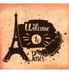 A poster on aged paper a trip to paris european vector