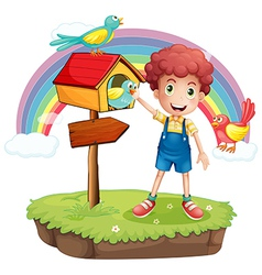 A young boy and the wooden pethouse and signboard vector image vector image